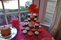 Pink Pumpkin 1st Birthday Party (orange & pink)- cupcakes & pumpkin smashcake for the birthday girl.