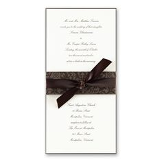 Wedding invitations that feature an eye catching decorative band and lavish brown ribbon adorn this polished wedding invitation. Your text appears both above and below the ribbon and is printed on our finest cream stock, layered with chocolate paper. Invitation # MOA-VWI-L Invitation Name-Earthy Spring