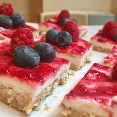 Sugar Free Lemon and Raspberry Cheesecake Squares  Base: 20g puffed buckwheat 1/4 cup coconut flour 2 tbsp almond butter 100ml almond milk 3/4 tsp xanthan gum Truvia  Mix and spread into square cake tin  Top: 80g lightest Philadelphia cream cheese 80g Greek yoghurt 1/2 tsp xanthan gum Juice of 1 lemon Truvia  Sugar free raspberry jam   Mix all but jam Spread on top of base Spread on jam  Chill 2-3 hrs/ freeze 20 mins