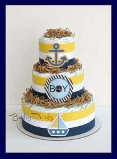 WE COULD DO THIS: Nautical Diaper Cake, Nautical Baby Shower , Sailboat Theme, Baby Shower Decorations.