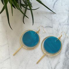 Halo Earrings- Mediterranean Blue – CURA Jewellery #statementearrings #lightweight #sustainablejewellery #ecofashion #handmade Shimmer N Shine, Blue Gold, Statement Earrings, Halo, Gemstone Rings, Pairs, Jewels, Jewellery, Silver