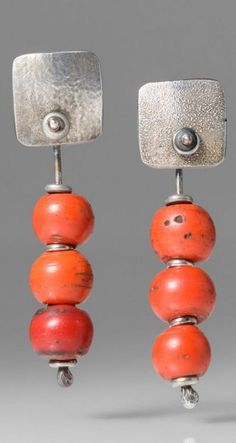 Holly Masterson 3 Faux Red Coral Beads Earrings