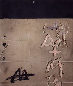 Antoni Tapies. A + M, 2007. Mixed media on wood. 78 3/4 x 67 in / 200 x 170 cm