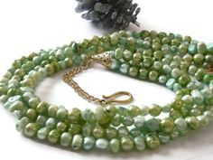Multistrand Mint Green Pearl 4 strand by ShimmerTreeJewelry, $44.29