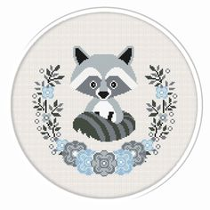 Buy 2 get 1 free. Raccoon cross stitch by CrossStitchByGlazov