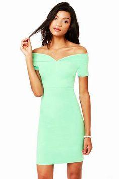 Hot Mint Green Dress - Off-the-Shoulder Dress