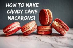 How to make candy cane macarons! Candy Making, Candy Cane, Macarons, Baking, Ethnic Recipes, How To Make, Food, Barley Sugar, Bakken