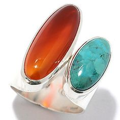 Argentum 47 Sterling Silver Oval Gemstone Wide Band Ring