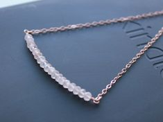 Gemstone bar necklace in rose gold. Rose Quartz necklace by EverywhereUR