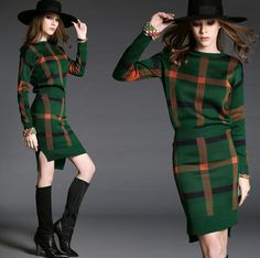 Europe Fashion Elegant Office Ladies Work Wear Spring Autumn Slim 2pcs Clothing Sets Women Retro Plaid Knit Sweater and Skirt