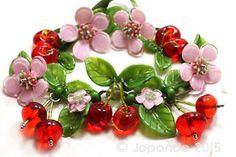 Cherry lampwork glass bead set #cherries