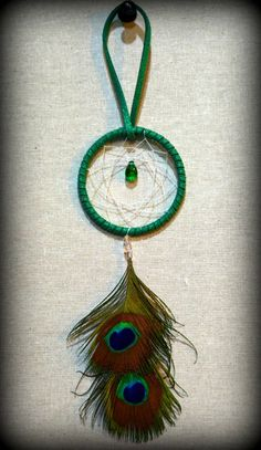 Miniature Green Suede Dream Catcher with by DreamySummerNights, $5.00