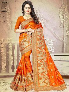 Fashionable Orange and Gold Intricate Peacock Figurine Wedding Saree