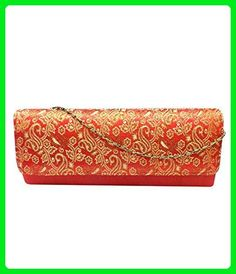Bhamini Raw Silk Box Clutch with abstract design Golden Zari Red - Clutches (*Amazon Partner-Link)
