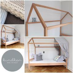**Produktinfo:** Ein Bett in Form eines Hauses, was zum verweilen, wohlfühlen und spielen einlädt. Es wird aus Massivholz Buche gefertigt, wodurch es sehr stabil und langlebig ist. Das PEFC -...