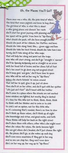 Time of Our Lives: Young Women New Beginnings - Oh The Places You'll Go, Dr. Seuss