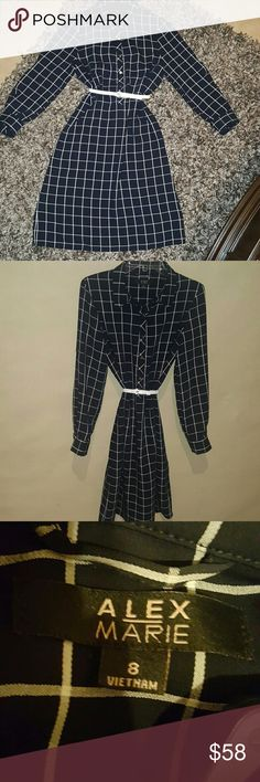 💋FRIDAY4thSALE Sale !Alex marie shirt drS size 8 Navy and white checkered shirt dress all buttons attached geeat condition 95%poly 5%rayon DRY CLEAN ONLY Alex Marie Dresses