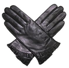Leather Glove with Ruffled Wrist Leather Black Dry Clean Only Long Island City Ny, Led Gloves, Checked Scarf, Hair Ornaments, Leather Gloves, Hand Warmers, Black Leather, My Style, Ruffles