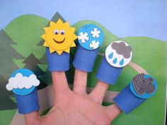 October Week Weather Finger Puppets for Teaching Weather Unit Preschool Weather Classroom-I love this idea, super cute. Im thinking it would be good to have them in the car. Weather Activities Preschool, Teaching Weather, Preschool Activities, Weather Kindergarten, Weather For Kids, Weather Art, Toddler Crafts, Crafts For Kids, Finger Plays