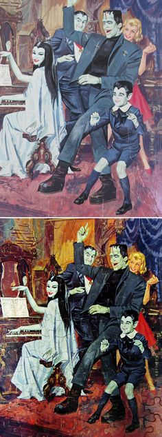 "1965 Whitman ""The Munsters"" Jigsaw Puzzle Box Art and Puzzle"