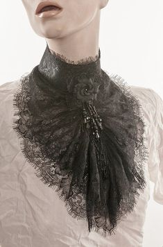 Lace Jabot Black eyelash lace Tall collar ruffled lace Beaded fringe and black rose Mourning steampunk Elegant gothic aristocrat