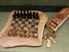Domino & Chess Board Set Chess Board Set, Wood, Woodwind Instrument, Timber Wood, Trees