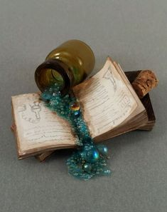 OOAK 1:12 Scale Dollhouse Miniature Spooky Spilled Potion and Book Witch Wizard