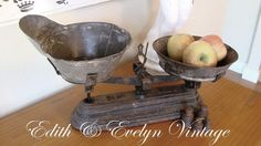 Rare Antique FRENCH Balance Scale Zinc Pans by edithandevelyn