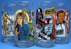 Star Wars: The Empire Strikes Back - Glasses from Burger King Star Wars Set, Star Wars Toys, Kings Empire, Cartoon Glasses, Alec Guinness, Star Wars Merchandise, The Empire Strikes Back, Star Wars Collection, Vintage Toys