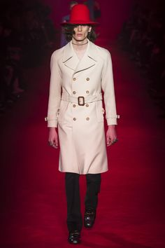 """""""I literally destroyed everything and created something new"""" - ALESSANDRO MICHELE - (Gucci for Men designed by Alessandro Michele, fall / winter Alessandro Michele Gucci, Fashion Show, Mens Fashion, Trench Coat Men, Androgynous Fashion, Men Design, Gucci Men, Military Fashion, Everyday Look"""
