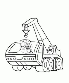 Crane Truck Coloring Page For Kids Transportation Pages Printables Free