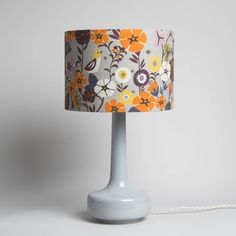Grey Table Lamp with Floral Lampshade / Grey Retro Lamp / Floral Print / Patterned Lampshade / Midce Grey Table Lamps, Ceramic Table Lamps, Floral Lampshade, Retro Lamp, Mid Century Modern Furniture, Midcentury Modern, Lampshades, Light Decorations, Print Patterns
