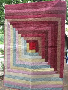 I made this Log Cabin quilt for my Mother!