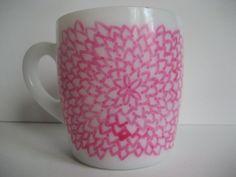 Chrysanthemum Pink Painted Milk Glass Mug Lines by BInYourBonnet, $6.00