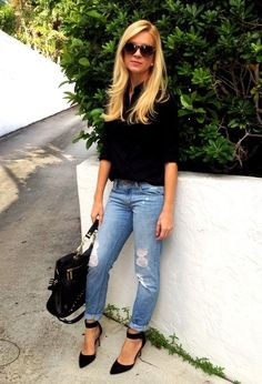 to wear : black button down blouse . light distressed jeans. black ankle strap pumps