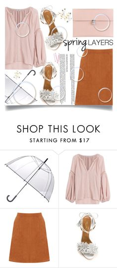 """""""A Line Skirt Show Your Legs"""" by jiabao-krohn ❤ liked on Polyvore featuring Totes, Vilshenko, Oasis, Aquazzura, Alexander McQueen, BOBBY, Summer, rain, alineskirt and pinkclutch"""