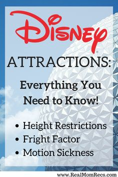 Guide to Disney World attractions! How tall must I be to ride? Which attractions might be scary for children? What should I avoid if I get motion sickness? Everything you need to know is here!