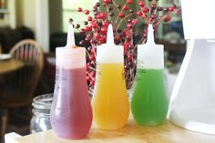 Naturally colored homemade snow cone syrups in Strawberry, Mango, and Kiwi flavors that looks like and tastes even better than store bought snow cone syrups. Made with whole ingredients, any mom can be happy to serve this to her child! Frozen Desserts, Frozen Treats, Fun Desserts, Snow Recipe, Snow Cone Syrup, Sno Cones, Backyard Picnic, Kool Aid, Summer Treats