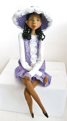 Ooak African American Art Doll - Mixed Media Clay and Cloth - Sold on Etsy and Ebay