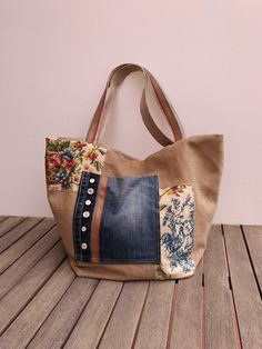 ba565f2b6c23 Medium tote bag Fabric bag Jeans recycle bag Shoulder bag Handmade Fabric  Bags