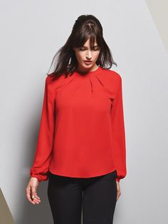 cover off your workwear essentials with this womens cherry red turtle top. Featuring a cuffed sleeve and button fastening at the back, this is perfect for lo...