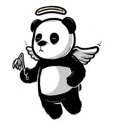 Flying with my little wings Daffodil Tattoo, Mandala Flower Tattoos, Rabbit Tattoos, Panda Tattoos, Panda Art, Panda Panda, Panda Wallpapers, Gaming Wallpapers, Cute Panda Drawing