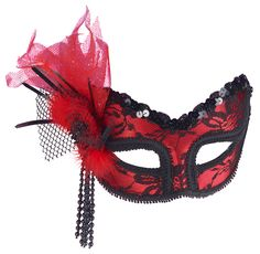 Red With Black Lace Mask - Mardi Gras Or Masquerade Masks