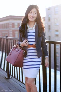 ExtraPetite.com - From work to weekend: striped sweater dress