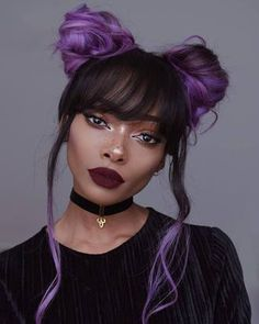 Alternative Cool Bright Purple Dyed Hair Space Buns Festival Inspired Hair Up Do Hair Goals Hair Inspiration Tumblr Blogger