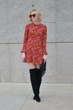 Retro Floral Print Dress - Straight A Style