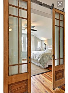 a great alternative to the standard interior door (via House of Turquoise) House Of Turquoise, Turquoise Walls, Chalet Design, House Design, Style At Home, Barn Style Homes, Barn Homes, Interior Barn Doors, Interior French Doors