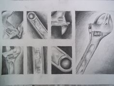 Everyday object variation and repetition. High School Drawing, Intro To Art, Art Shed, High School Art Projects, Gcse Art Sketchbook, Value In Art, Observational Drawing, Object Drawing, Drawing Projects