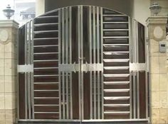 Código do item: G9  Super finas portões de aço inoxidável em 304 com o trabalho de madeira