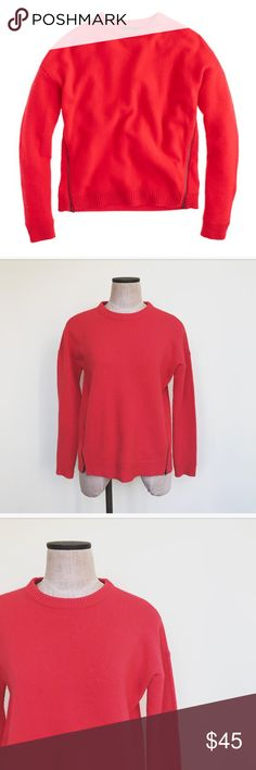 J. Crew red lambs wool zipper sweater sz S Super cute J. Crew red lambs wool zipper sweater. In excellent pre-worn condition. 100% wool.  Last pic shows the fit. Sz S. No trades! J. Crew Sweaters Crew & Scoop Necks